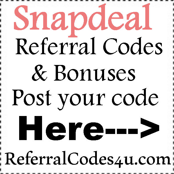 Snapdeal App Invite Codes 2016-2017, Snapdeal AppShare Referral Codes