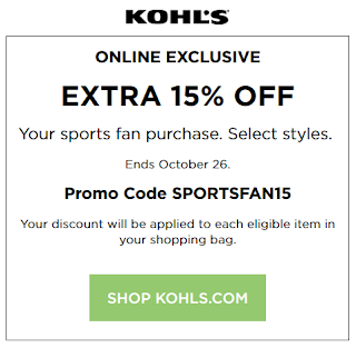 Kohls coupon 15% Sports Fan Merchandise Oct 2016