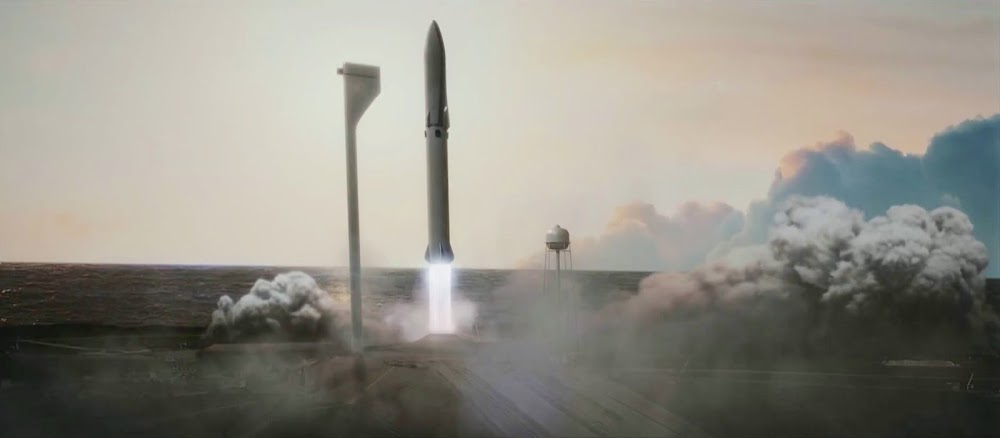 SpaceX cargo Big Falcon Rocket (BFR) launching from Earth