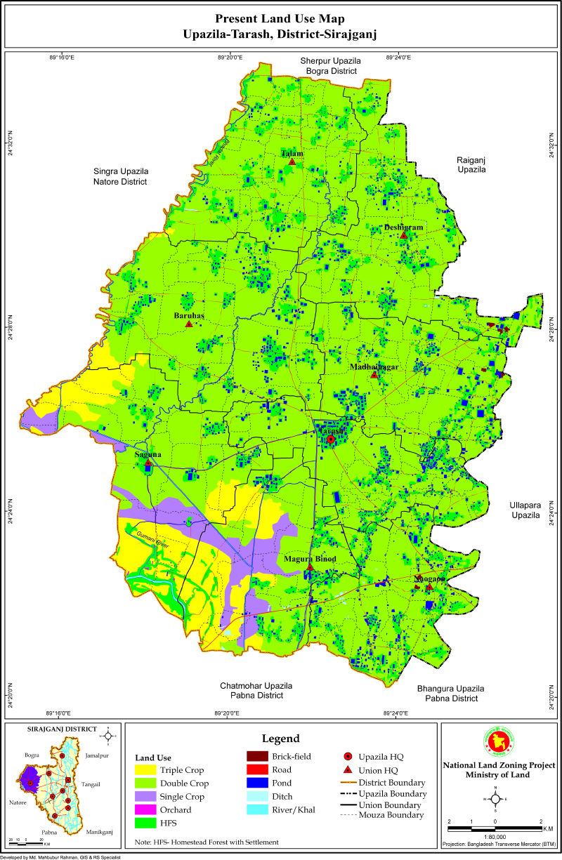 Tarash Upazila Mouza Map Sirajganj District Bangladesh