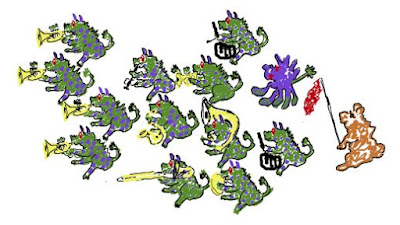 cartoon: green & purple monsters marching with band instruments