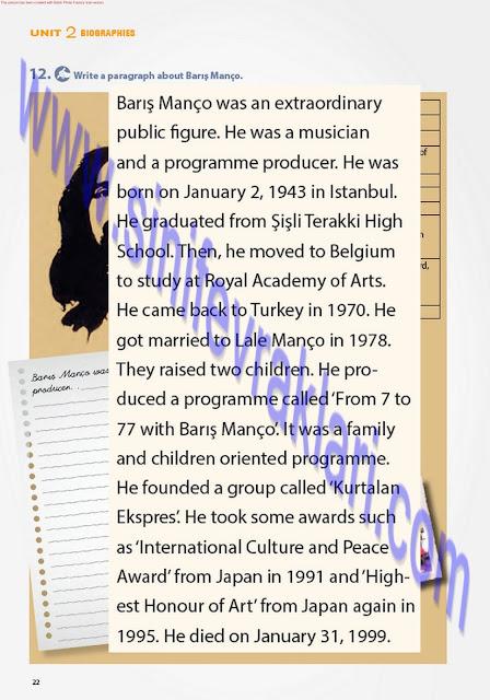 7. Sınıf İngilizce Ders Kitabı Cevapları Pantera Yayınları Sayfa 22