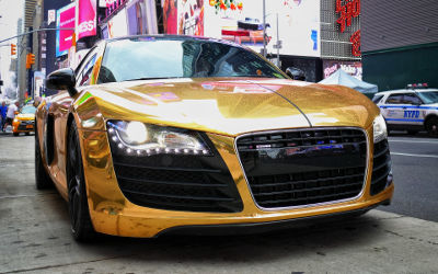 Audi R8 Chrome Or - Fond d'écran en Full HD 1080p