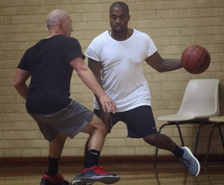 88d7762babadd Kanye West Playing Basketball in adidas Pure Boost Sneakers (Images + Video)