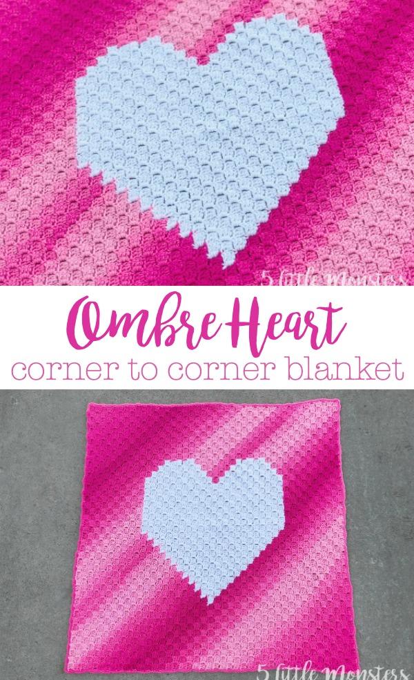 5 Little Monsters Ombre Heart Corner To Corner Blanket