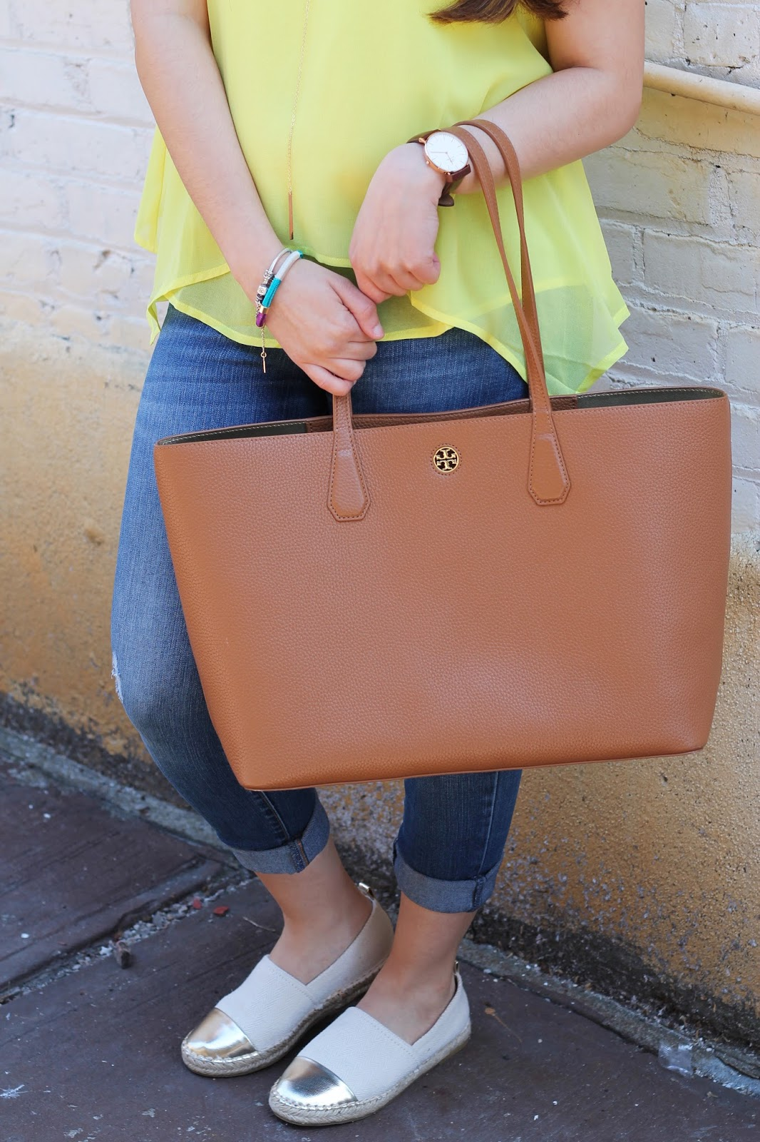 tory burch, oldnavy, marshalls, daniel wellington, fabfound, zara, espadrilles, summer, spring, distressed jeans, nordstrom, yellow, perry leather tote, nordstrom , blogger, , fashion blogger, spring fashion, personalstyle,