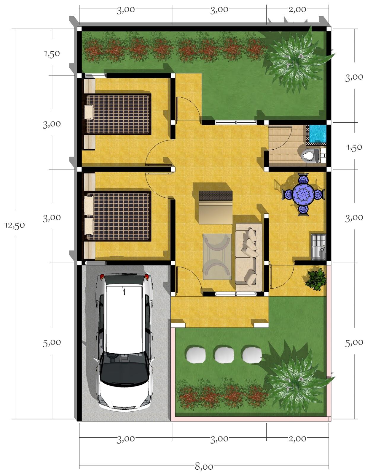 Denah Rumah Type 100 : denah, rumah, Gambar, Denah, Rumah, Minimalis, Images, Desain, Rebanas