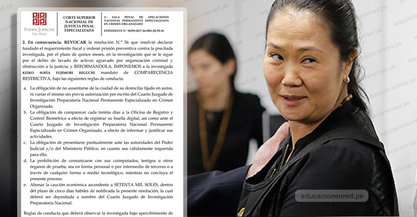 KEIKO FUJIMORI SALE DE PRISIÓN: Ordenan liberación de lideresa de Fuerza Popular
