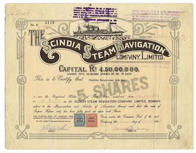 Scindia Steam Navigation share certificate with signature of Sumati Moraree