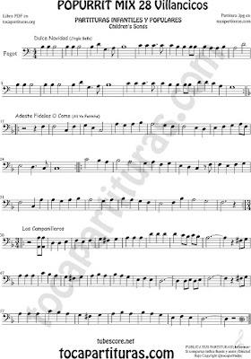 Fagot Partitura Popurrí Mix 28 Sheet Music for Bassoon Dulce Navidad, Adeste Fideles y Los Campanilleos Villancicos