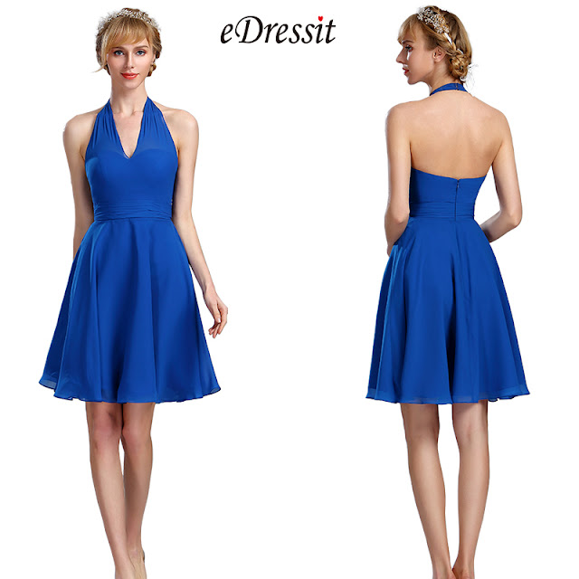 Halter Electric Blue Chiffon Velvet Short Dress