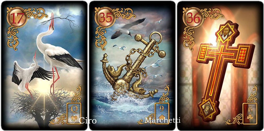 Gilded Reverie Lenormand,stork, anchor, cross