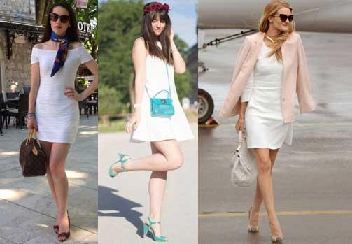 zapatos y vestido blanco