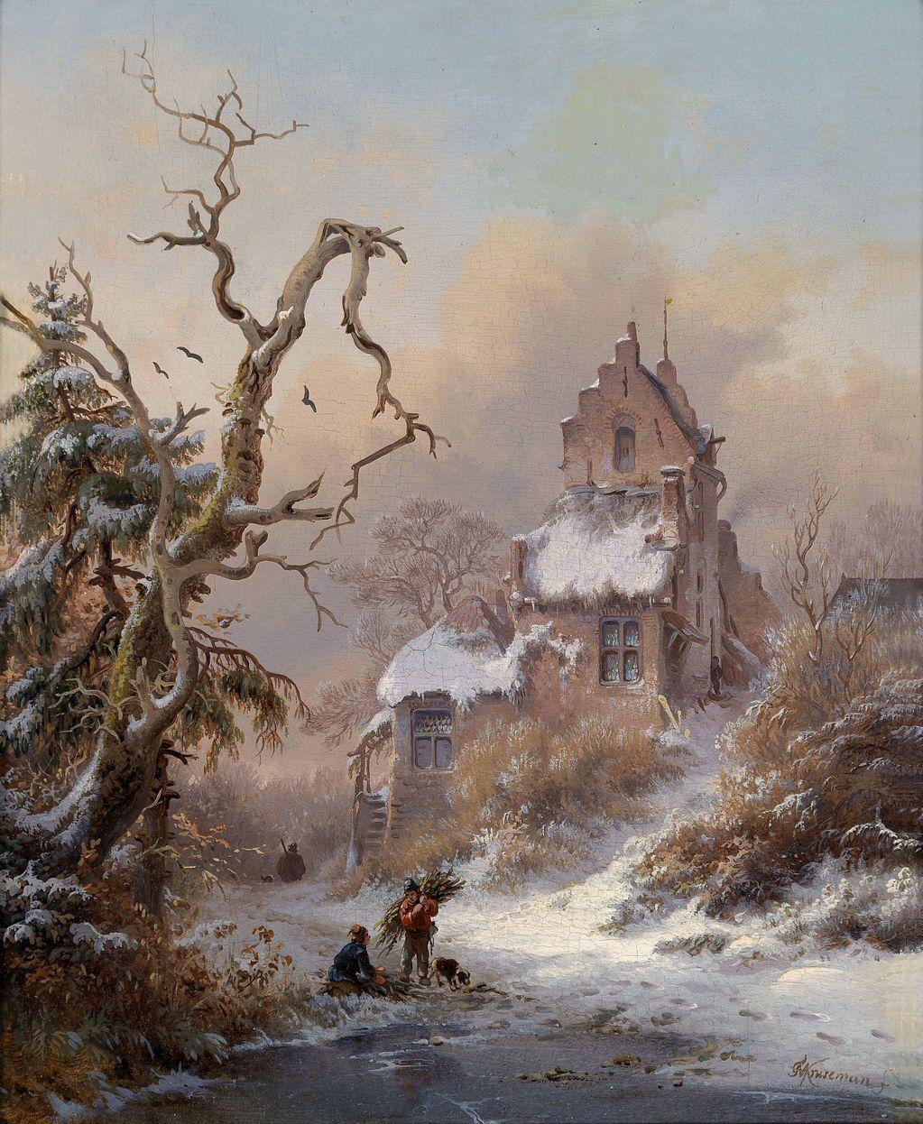 Afbeeldingen Wintertaferelen: Flemish Landscape Painting Of XIXth Century : Fredrik