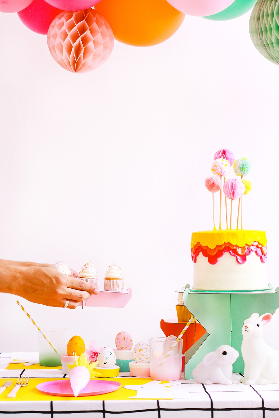 bright colorfull easter table decoration modern minimal carrot cracker terrazzo easter eggs diy