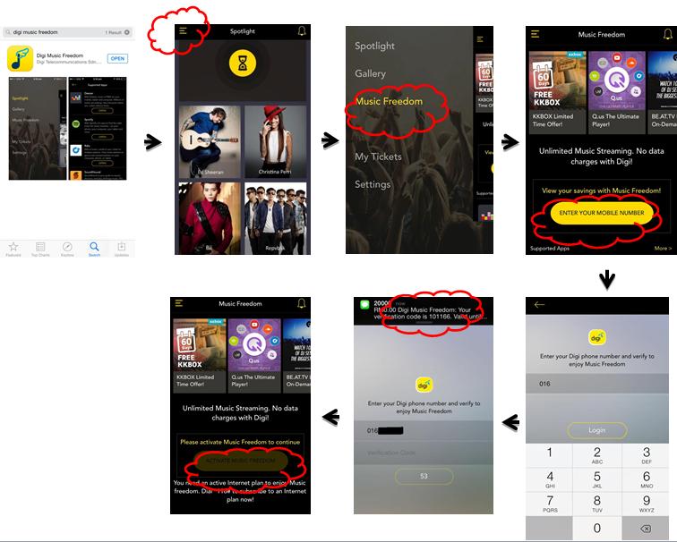 ธτєρħч yiwen: Digi Music Freedom App无限数据的音乐享受
