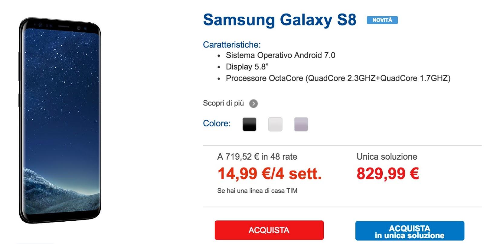Conviene Samsung S8 con TIM