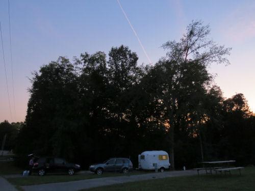 fiberglass trailer in a campsite