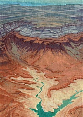 aerial painting lake powell shoreline desert designs