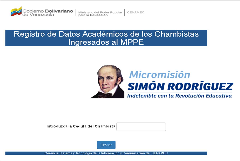 Registro de Datos Académicos de los Chambistas Ingresados al MPPE