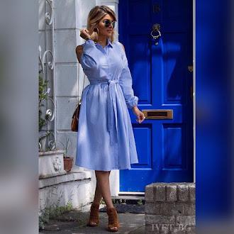 Εντυπωσιακό μίντι μπλε φόρεμα SENDY