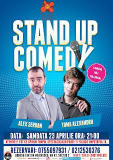 Stand-Up Comedy sambata 23 Aprilie Bucuresti ora 21