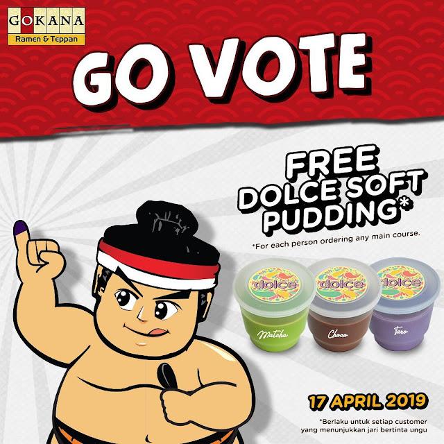 #GOkana - #Promo GO VOTE Dapatkan Dolce Soft Pudding Gratis Setelah Nyoblos (17 April 2019)