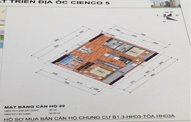 Sơ đồ thiết kế căn hộ 22 chung cư B1.3 HH03A Thanh Hà Cienco 5