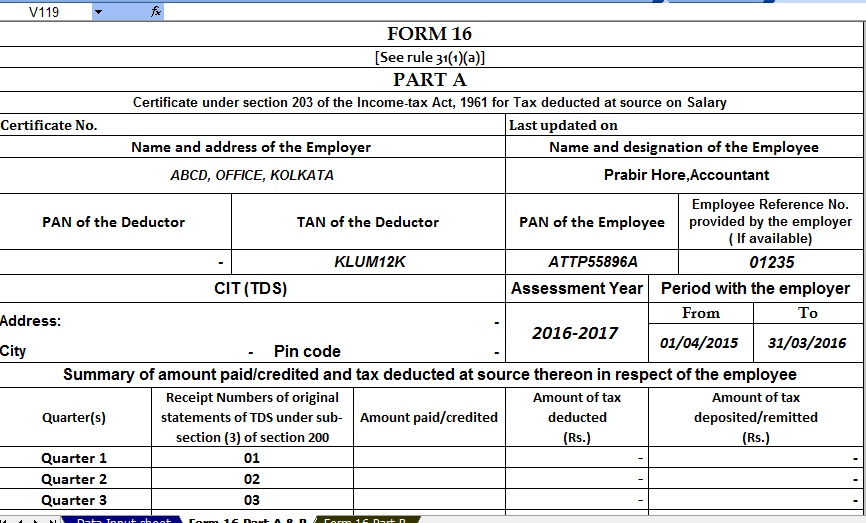 Excel Format Of Form 16 Salary Certificate & Form 16a