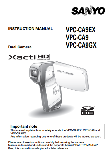 Sanyo Camcoder VPC-CA9 Manual