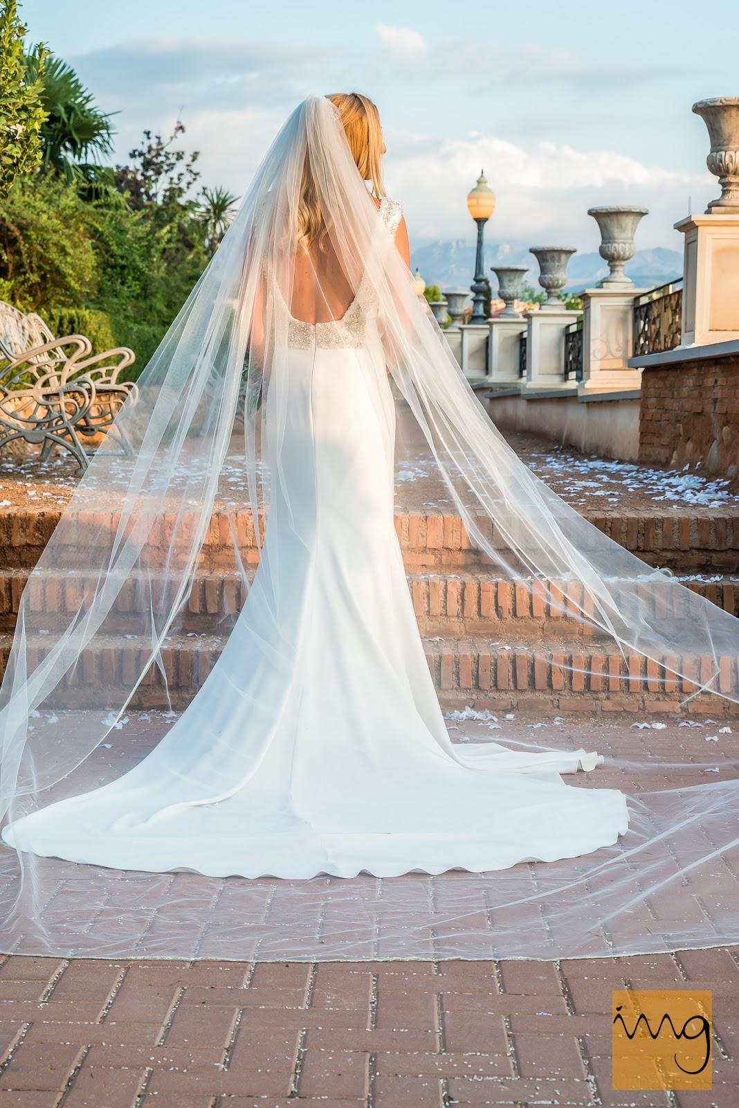 Fotografía del vestido de novia por detrás