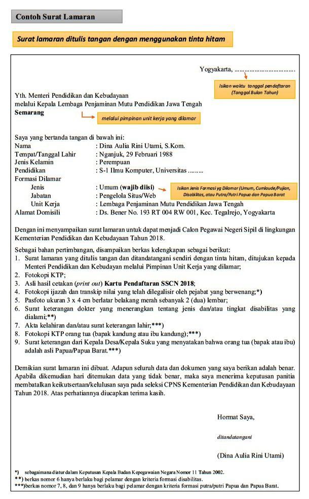 Contoh Surat Lamaran CPNS [Untuk Rekrutmen & Seleksi CPNS] Terbaru