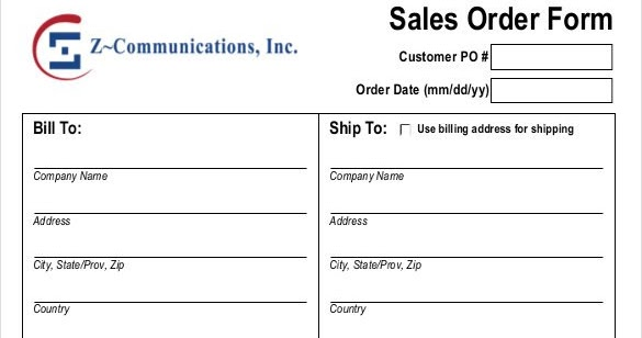 Excel Template  Company Order Form Template
