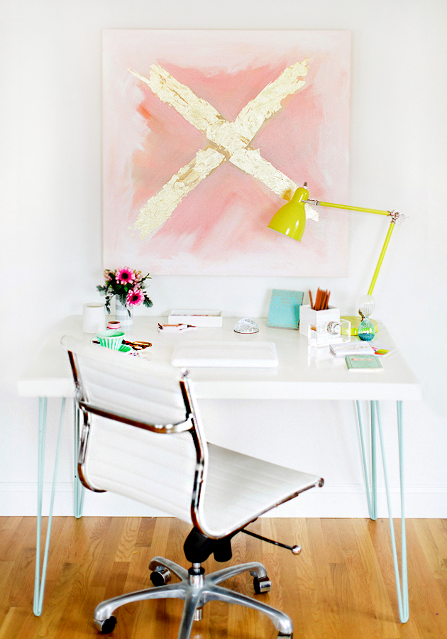 | DIY hairpin desk and artwork