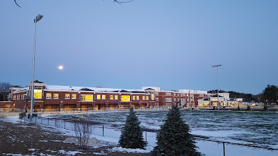 Franklin HIgh School in a snow covered sunrise