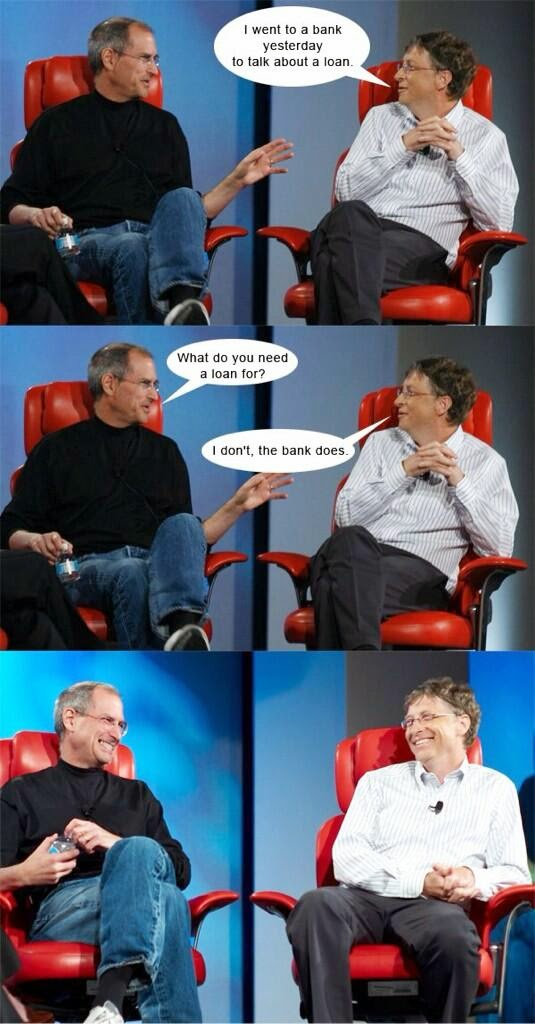 Funny Bill Gates Bank Loan Conversation Picture