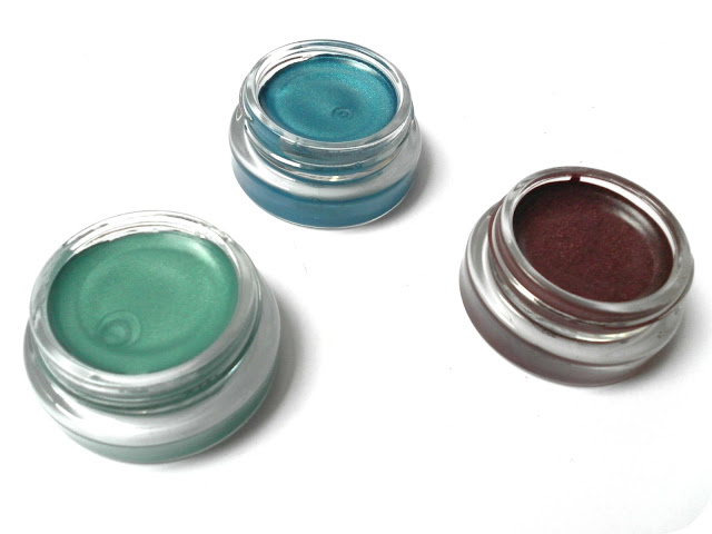 A picture of Maybelline Color Tattoo in Edgy Emerald, Tenacious Teal and Pomegranate Punk