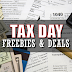 While the IRS wants to take money out of your pocket here on Tax Day, businesses have free stuff to put back in