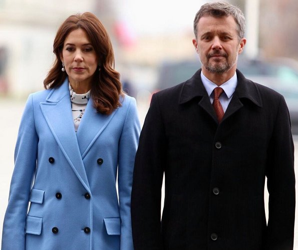 Crown Princess Mary wore Strenesse wool virgin coat in Loro Piana and print blouse. Andrzej Duda and Agata Kornhauser-Duda