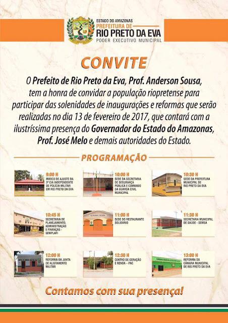 Em apenas 40 dias de governo prefeito de Rio Preto da Eva  vai inaugurar obras com a presença do governador