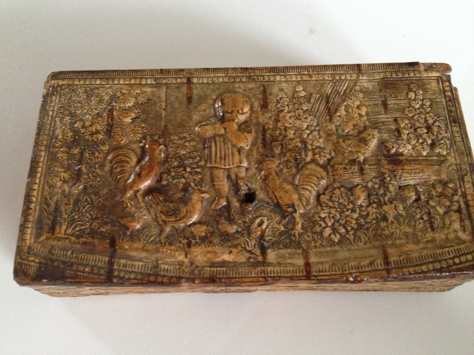 Antique Hunter Wooden Box Carved With Little Boy And Chickens