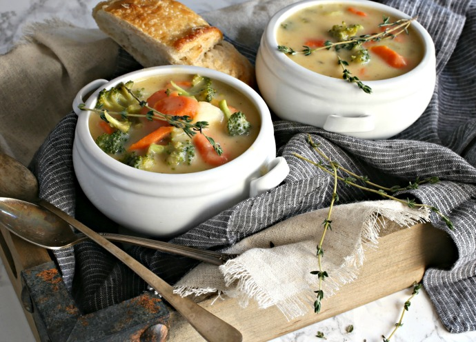 Creamy vegetable soup with cheddar cheese.