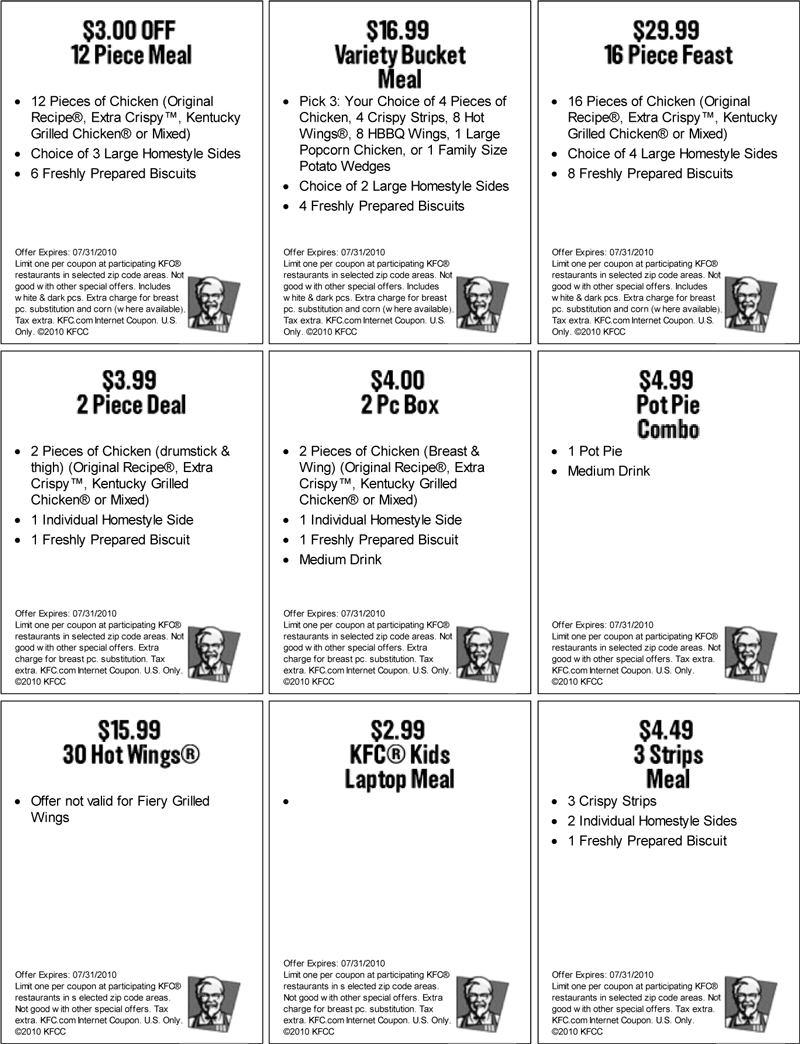 Kentucky Coupons Printable Fried 2013 Chicken