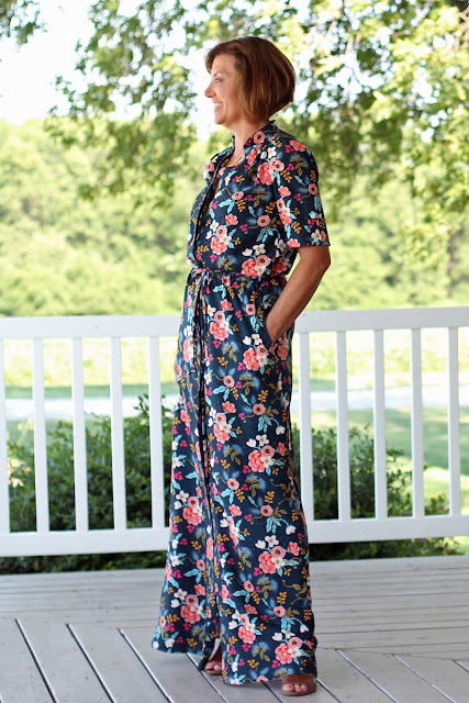 Style Maker Fabrics' Les Fleurs Birch Floral Rayon Navy sewn into a Simplicity 8084  maxi dress, designed by Mimi G - side view