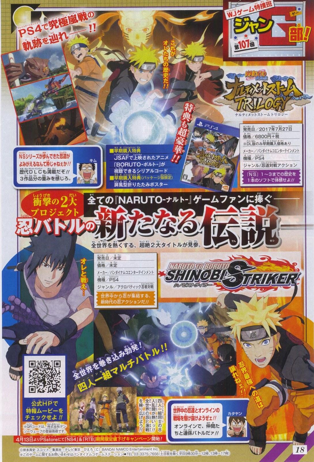 Se anuncian dos nuevos videojuegos de: Naruto to Boruto: Shinobi Striker y Ninja Storm: Trilogy
