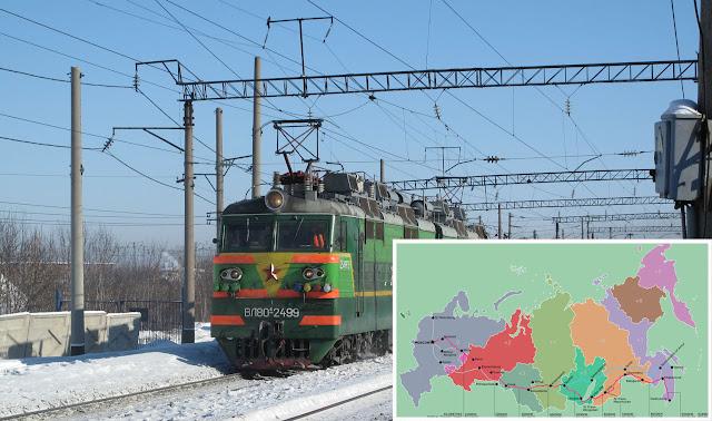 Peta jalur kereta api Trans-Siberia