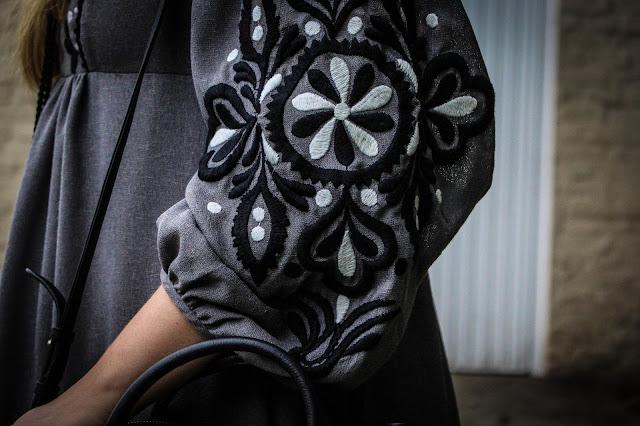 Photo of a Zara embroidered grey dress