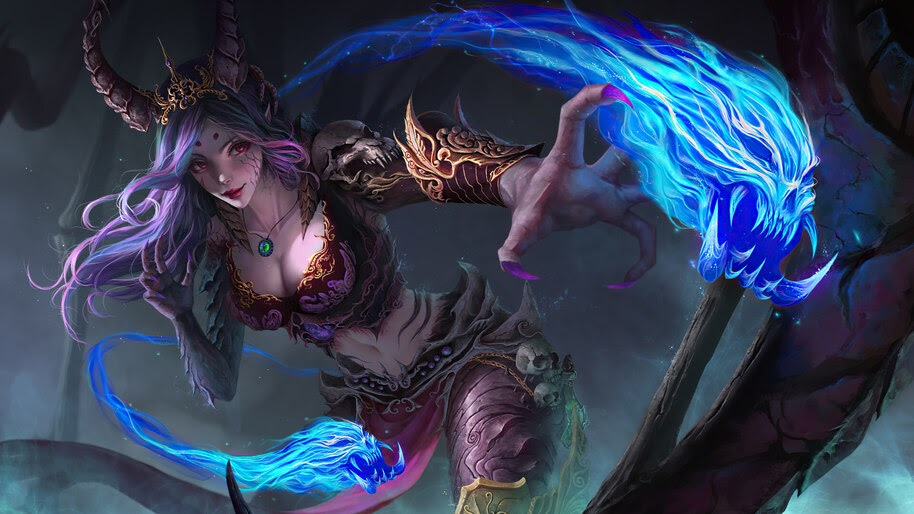 Demon, Girl, Warrior, Fantasy, 4K, #6.752
