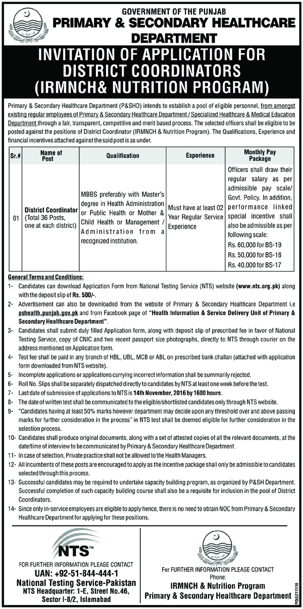 Doctors Job In Punjab Primary and Secondary Healthcare department