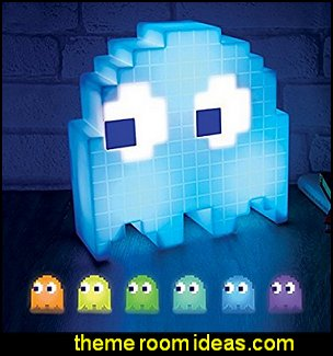 PacMan Ghost Light USB Powered Multi-colored Lamp   Gamer bedroom - Video game room decor - gamer bedroom furniture - gamer wall decal stickers - Super Mario Brothers Wall Stickers - gamer bedding - Super Mario Brothers bedding - Pacman decor -  Arcade bedrooms -